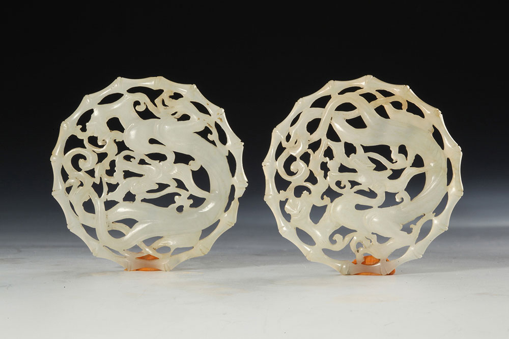White jade ornament with engraved dragon and bamboo design. (Two pieces with one number), Southern Song Dynasty